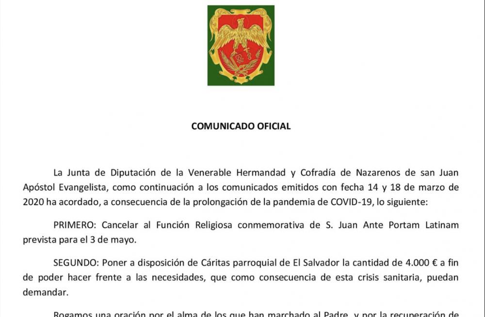 COMUNICADO OFICIAL COVID-19