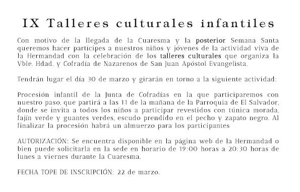 IX talleres culturales infantiles.