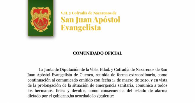 COMUNICADO OFICIAL CON MOTIVO DE LA CRISIS DEL COVID-19